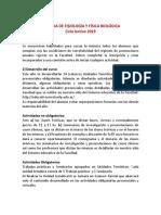 Remediar - Reglamento de La Cursada de Fisiología y Física Biológica 2019