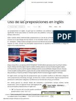 Uso de Las Preposiciones en Inglés