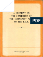 A COMMENT ON  THE STATEMENT OF  THE COMMUNIST PARTY  OF THE U.S.A.