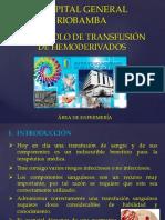 PROTOCOLO DE TRANSFUSIÓN DE HEMODERIVADOS.pptx