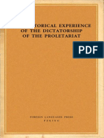 THE HISTORICAL EXPERIENCE  OF THE DICTATORSHIP  OF THE PROLETARIAT