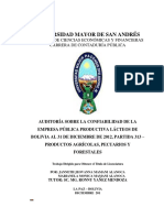 Universidad Mayor de San Andrés Facultad de Ciencias Económicas y Financieras Carrera de Contaduría Pública