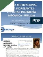 Charla Motivacional Ingresantes Mecanica - 2019