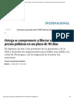 Ortega Se Compromete a Liberar a Todos Los Presos Políticos en Un Plazo de 90 Días _ Internacional _ EL PAÍS