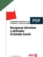 Alternativas sindicales a la política económica y social del Gobierno