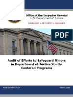 Audit of Efforts to Safeguard Minors in Department of Justice Youth Centered Programs