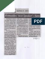 Ngayon, Mar. 21, 2019, Romualdez next Speaker - Sara.pdf