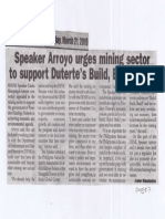 Peoples Journal, Mar. 21, 2019, Speaker Arroyo urges mining sector to support Duterte's Build,Build,Build.pdf