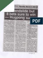 Peoples Journal, Mar. 21, 2019, No landslide but 8 bets sure to win - Hugpong survey.pdf