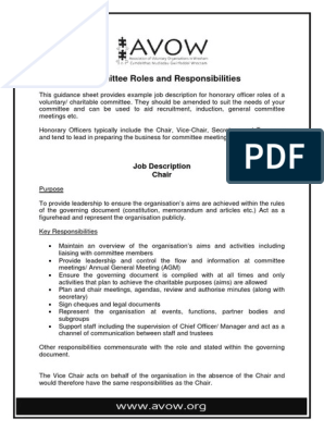 Committee Roles And Responsibilities Job Description Chair Trustee Secretary