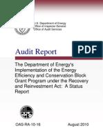 Department of Energy audit on stimulus monies