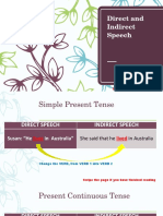 Direct and Indirect Speech Explanation