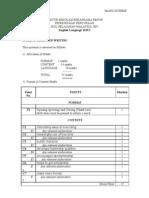 SPM Percubaan 2007 SBP English Language Paper 1 Marking Scheme