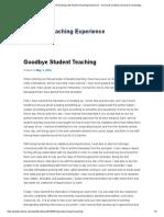 Goodbye Student Teaching