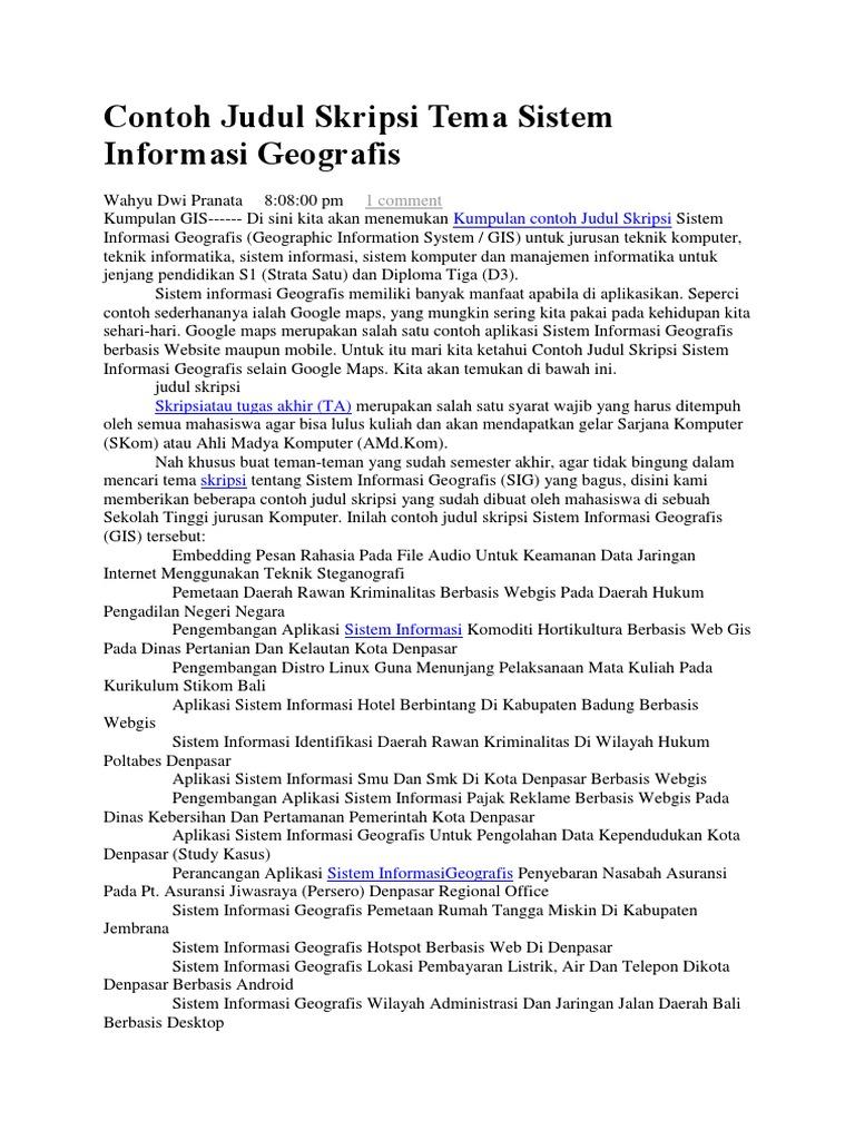 Contoh Judul Skripsi Tema Sistem Informasi Geografis Docx