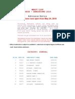 Merit LIST PGDIE-Admissions 2010
