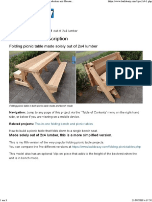 Awesome 00 Folding Picnic Table Diy Out Of 2X4 Lumber Lumber Nut Andrewgaddart Wooden Chair Designs For Living Room Andrewgaddartcom