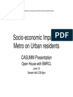 Socio Economic Impact of Metro on Urban Residents