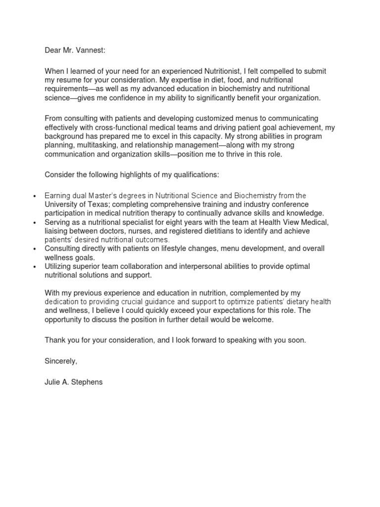 Meeting 2 Example Cover Letter Dietitian