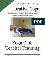 Yoga Club Teacher Training Manual Restorative Yoga