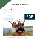 ¿Cuál Es El Origen de Los Incas
