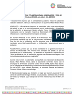 19-03-2019 FIRMAN CONVENIO DE COLABORACIÓN EL GOBERNADOR Y CFE; SE ELECTRIFICARÁN ZONAS ALEJADAS DEL ESTADO