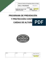 Programa de prevención y protección contra caída de alturas