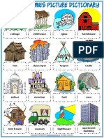 Types of Houses Homes Vocabulary Esl Picture Dictionary Worksheet for Kids