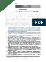 Comunicado Registro PMI 2020-2022