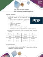 Actividades - Tarea 1. Declinar sustantivos y adjetivos, derivación.