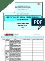 IDENTIFICACIÓN DE LAS NECESIDADES DE APRENDIZAJE PRIMER GRADO COMUNICACIÓN.docx