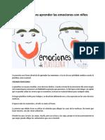 Actividad Para Aprender Las Emociones Con Niños