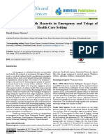 Occupational Health Hazards in Emergency and Triage of Health Care Setting