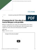 El Manuscrito de 'Cien Años de Soledad' Que García Márquez Creía Perdido _ Cultura _ EL PAÍS