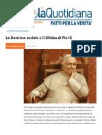La Dottrina Sociale e Il Sillabo Di Pio IX