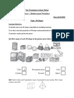 3-d Shapes Work Sheet