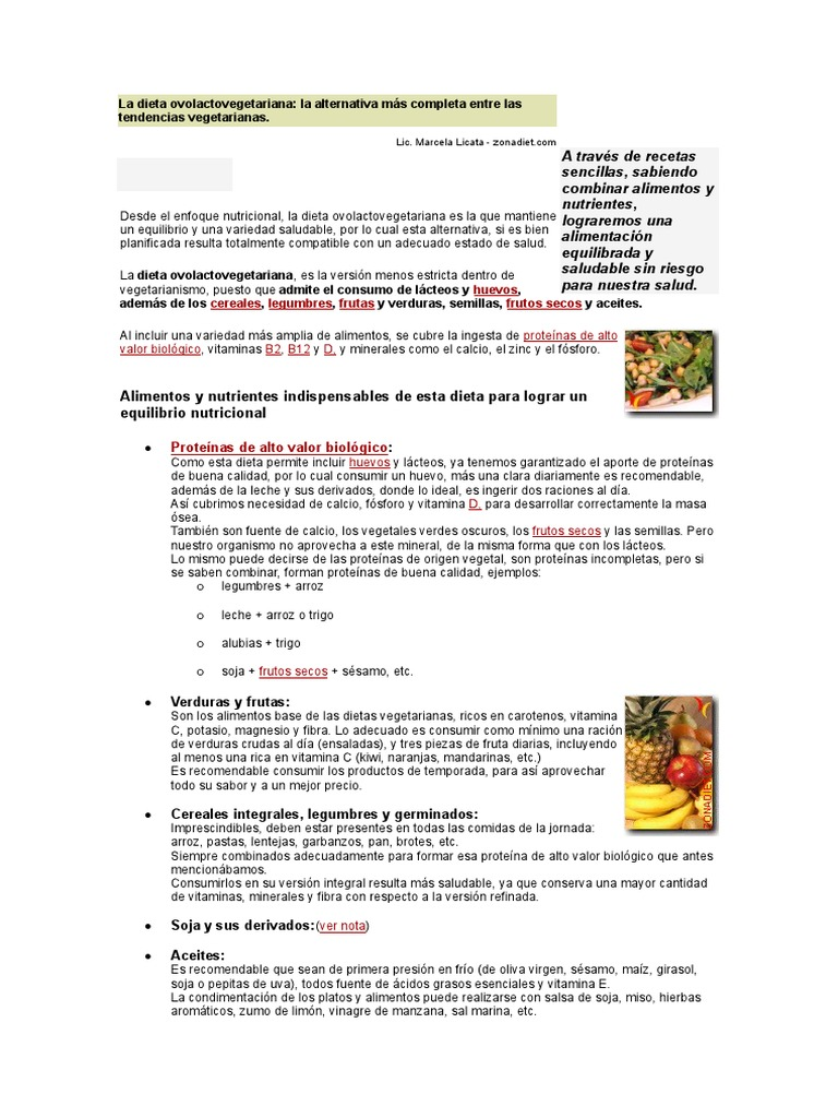 ejemplo de dieta ovolactovegetariana