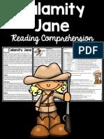 Calamity Jane Reading Comprehension