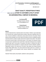 EFFECT OF PRODUCT QUALITY, PERCEPTION OF PRICE AND SATISFACTION TO CUSTOMER LOYALTY (STUDY ON AGROINDUSTRIAL COMPANY IN INDONESIA)