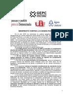 Manifiesto contra la cadena perpetua GEPC, Juezas y Jueces para la democracia UPF, Agora Judicial
