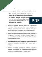 Discours du Budget de Rodrgiues 2019-2020