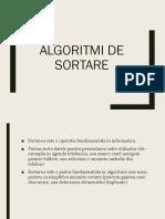 Algoritmi  de sortare