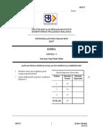 SPM Percubaan 2007 SBP Chemistry Paper 3