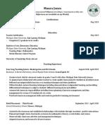 teaching resume 2019