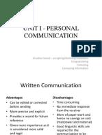 Unit i - Personal Communication