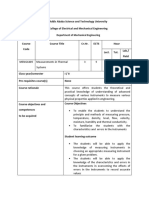 Course Outline Measurment in Thermal System