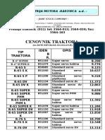 Cenovnik Traktora RAKOVICA EUR Neto Lista 011206