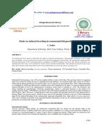 Study on Induced Breeding in Ornamental Fishpoecilia Sphenops c Sudha