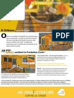Article Jonquillo'Tour Orléans - AB PTP soutient la Fondation Curie !
