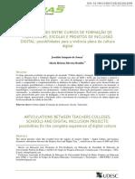 ARTICULAÇÕES ENTRE CURSOS DE FORMAÇÃO DE PROFESSORES, ESCOLAS E PROJETOS DE INCLUSÃO DIGITAL